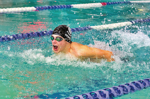 Wahconah's Fred Sears glides through the water during the boys' 200yd medley relay. Wahconah took 2nd place in that race.