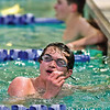 PHS swimmer Dany Fitzgibbons looks up at the leaderboard after his finish in the Boys' 500yd Freestyle.