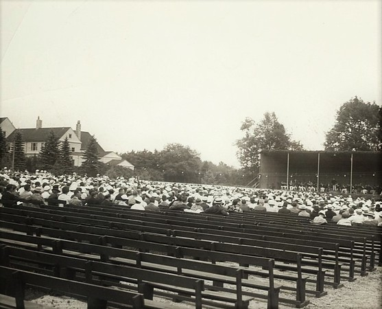 Tanglewood, originally began as the Berkshire Symphonic Festival and was held on the Dan Hanna estate in 1934, as seen here.
