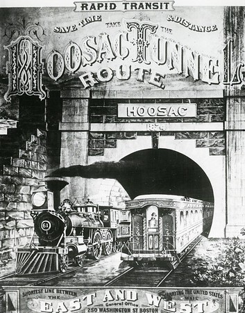 An early poster advertising the new fast route between New England and the West, which the 4.75-mile bore provided. A locomotive emerges from the West Portal. Berkshire Eagle Archives