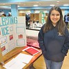 "Isabelle Salgado, a seventh grader at Hopkins Academy in Hadley shared her research on the ""albedo effect"" -- how the reflection or absorption of light can affect Earth's climate and global warming -- during the April 6 Berkshire Earth Expo held in Pittsfield at the Boys & Girls Club of the Berkshires. JENN SMITH — THE BERKSHIRE EAGLE"