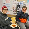 Shante Melville, left, and Haven Westcott, right, of Darrow School in New Lebanon, N.Y. listed farming, water source depletion and pipeline pollution among their their top environmental concerns. The students shared their project on sustainable farming during the April 6, Berkshire Earth Expo held at the Boys and Girls Club of the Berkshires.  JENN SMITH | THE BERKSHIRE EAGLE Saturday, April 6, 2019