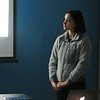 Simon's Rock Academy student Estela Quinones listens to her classmate Remy Bahr (not pictured) describe the potential impact of global warming on common food crops during their presentation at the Berkshire Earth Expo, held on April 6 at the Boys & Girls Club of the Berkshires in Pittsfield. JENN SMITH — THE BERKSHIRE EAGLE