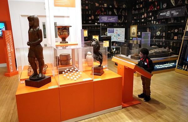 BEN GARVER — THE BERKSHIRE EAGLE<br /> A boy examines an exhibit in the Curiosity Incubator at The Berkshire Museum, December 3, 2019.