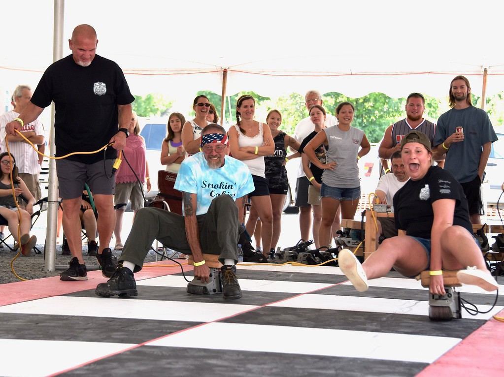 . The 28th Annual Belt Sander Race to benefit the National Multiple Sclerosis Society was held on July 14, 2018 at Bertie�s Inn, 160 Old Friedensburg Road in Exeter Township. All proceeds benefit the National Multiple Sclerosis Society. Photos by Jesi Yost