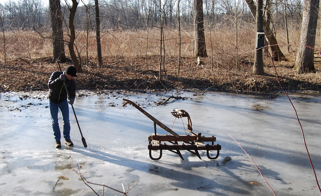 . A presentation of 19th century Pennsylvania German ice harvesting at the Historic Dreibelbis Farm in Virginville on Feb. 3, 2018. Photos by Lisa Mitchell