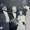 Centennial Ball Queen Mrs. David Neiman, receives the best wishes of, from left, Centennial chairman Paul Rhoads, Gen. Carl A. Spaatz, and Mayor E. Kenneth Nyce at the Coronation Ball held in 1966.