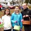 Eight-year-old Elena Griffin, 10-year-old Kelsey Griffith, and 10-year-old Ava Ainge at the egg hunt.
