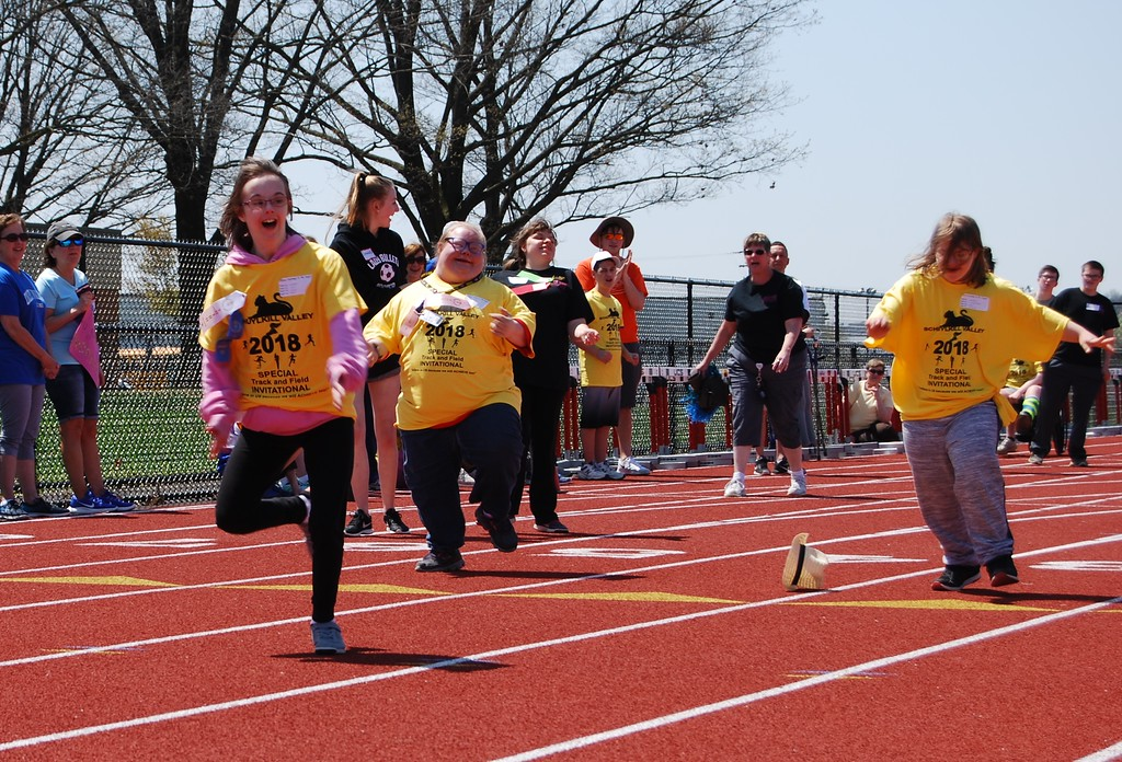 . Special needs student-athletes showed off their track and field skills during Schuylkill Valley School District�s Special Track and Field Invitational on May 1, 2018. More than 125 athletes ages 5 to 21 and 2,000 teachers, buddies, parents and staff from Oley Valley, Antietam, Brandywine Heights and Schuylkill Valley school districts and Berks County Intermediate Unit�s PAL programs participated in Track and Field events. Photos by Lisa Mitchell