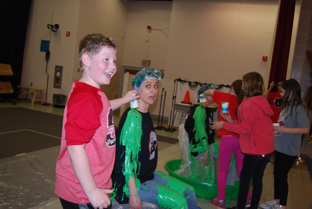. Schuylkill Valley Elementary School students slimed their principals on Feb. 23, 2018 in celebration of the school winning The Literacy Council of Berks County�s Reader�s WIN Campaign, raising more than $8,000 to go toward reading programs for adults. Photos by Lisa Mitchell
