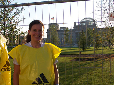 I met Edit on the train on the way to the starting line. She is a nurse in another city in Germany and had come to Berlin to run her very first marathon. We ended up running the first half of the marathon together, and met again at the finish line