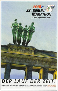 Cover of the marathon program. They replaced the traditional figures atop Berlin's Brandenburg Gate with runners
