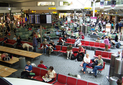 Heathrow Airport international arrivals and departures lounge
