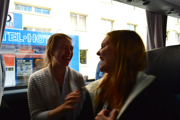 A high school foreign exchange student in Germany on a bus tour in Berlin, Germany outside of a hostel in Germany