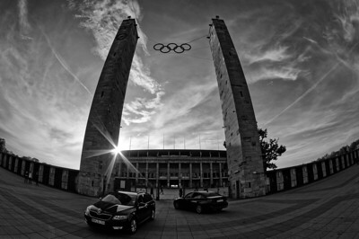Busyness at the gate of Olympiastadion (b/w)