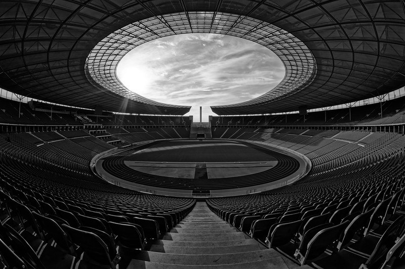 Olympiastadion Berlin, view from top of Ostkurve (b/w)