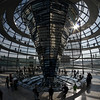 Visitors flocking through the backlit Reichstag dome