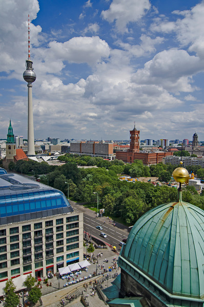 The view from the base of the Berliner Dom dome (?) didn't disappoint, neither did the fresh air after the climb. You can walk all the way around the dome. This shot is looking eastish at the Fernsehturm (TV tower) toward Alexander Platz. 10 July, 2012. Berlin.