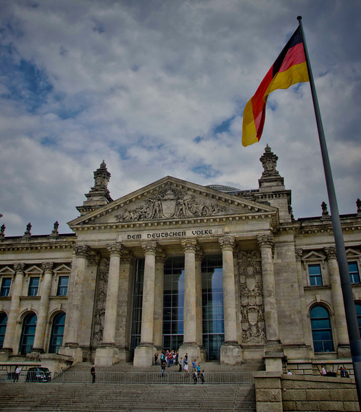 The Reichstag building, The People's Hall. Berlin, Germany. 11 July, 2012.