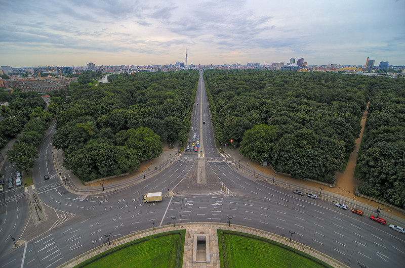 You can climb up Berlin's Siegessäule (Victory Column) all the way to the base of the figure on top. This is the view East through the Tiergarten toward the Brandenburg Gate, 13 July, 2012.