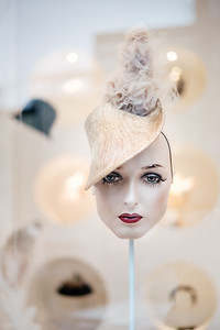Heads displays from a hat shop in Berlin