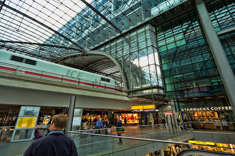 ICE (Intercity Express) Train Arrives in Berlin Hauptbahnhof