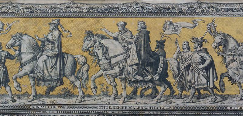 Fürstenzug, Princes Procession, Johann Bottger Porcelain Mural, Dresden, Germany