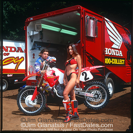 1994 Supercross Champion Jeremy McGrath, Team Honda CR250 with  LeAnn Tweeden