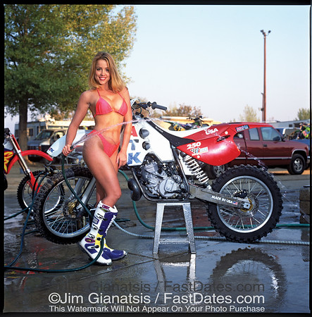 KTM water-cooled 250cc Motocross bike with Tanya Poole.