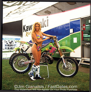 Doug Henry Kawasaki KX125 with Valerie Bird.