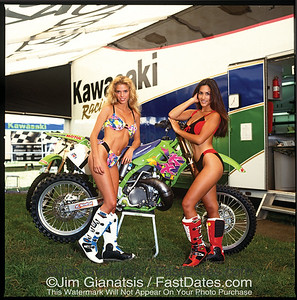 Doug Henry  Kawasaki KX125 with Valerie Bird, Leann Tweeden