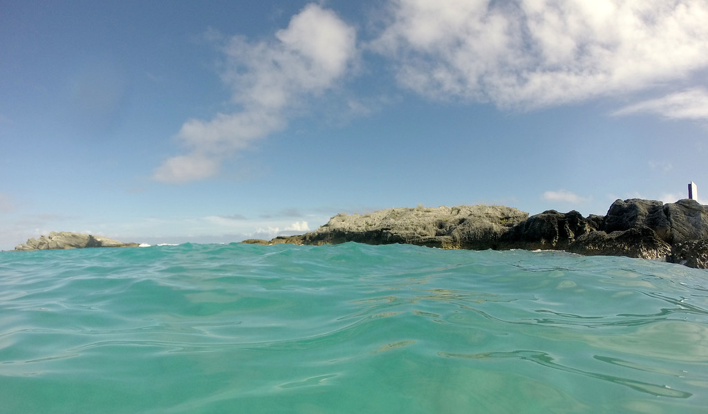 Surfing with Isolated Surfboards at Horseshoe Bay Beach in Bermuda