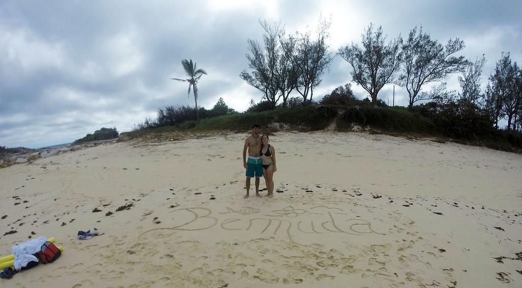 Bermuda written in the sand at Long Bay Beach