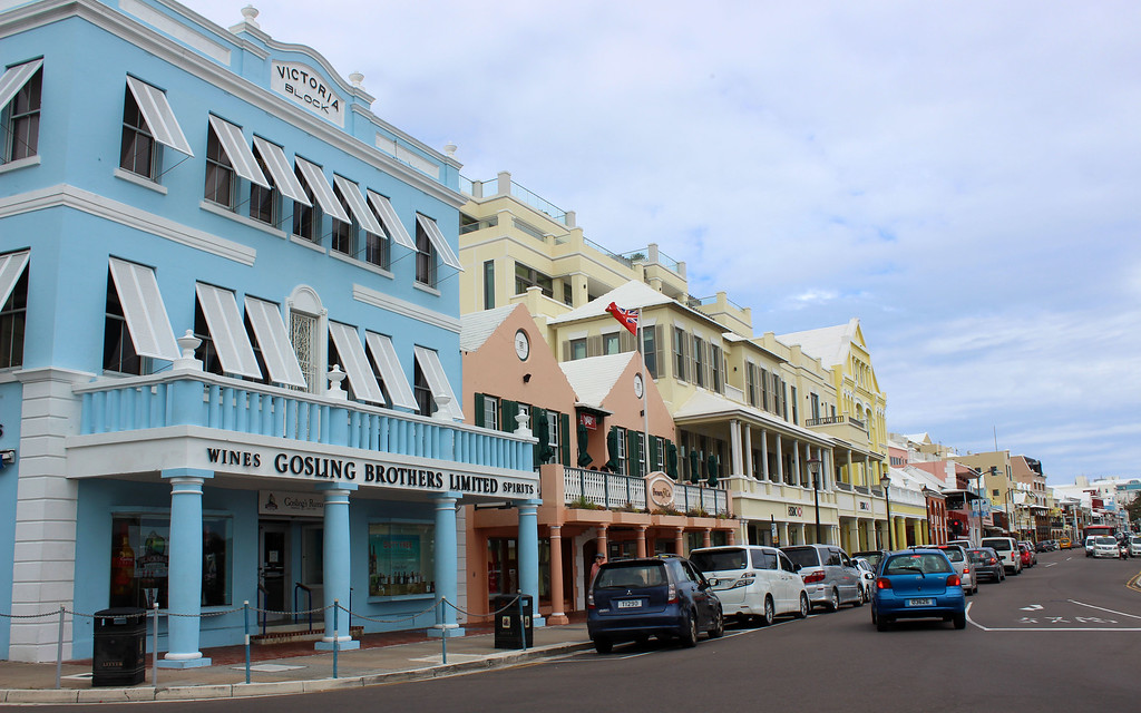 Front Street in Hamilton, Bermuda. Colorful houses line the streets.