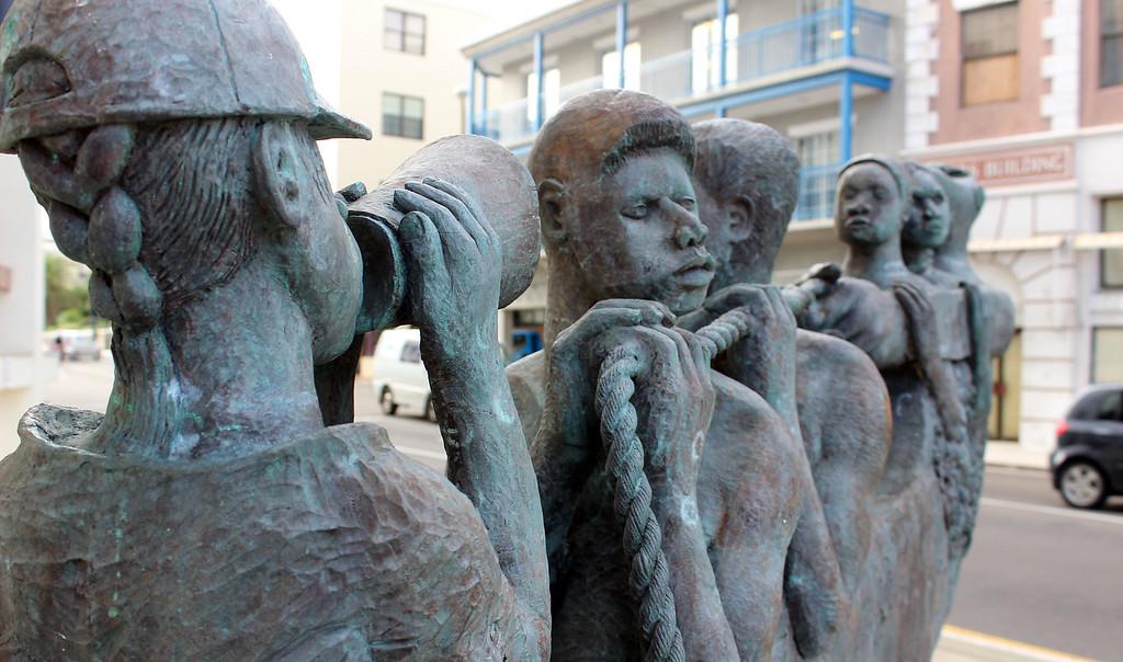 Against Da Tide sculpture in Bermuda