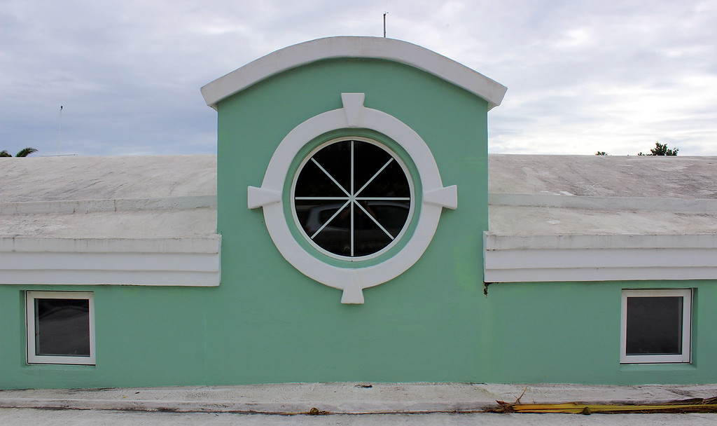 Pastel green building along Front Street in Bermuda