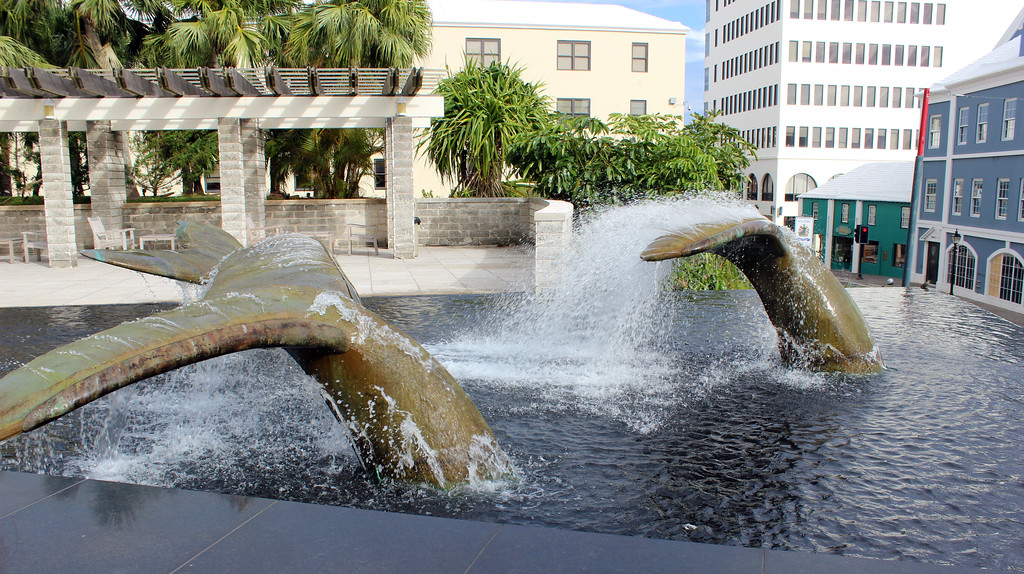 Whale tail fountain in Bermuda