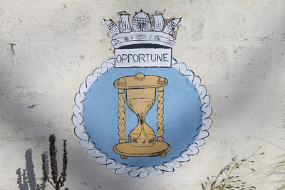 Crest of HMS Opportune at Dockyard, Bermuda. HMS Opportune was an Oberon class submarine launched in 1964 and decommissioned in 1993.