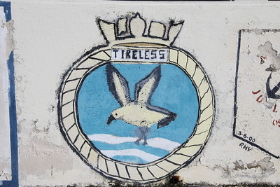 Crest of HMS Tireless at Dockyard, Bermuda. There have been two Royal Navy submarines named HMS Tireless. The second (S88) is a Trafalgar class nuclear powered submarine launched in 1984 and still in active service (2012).