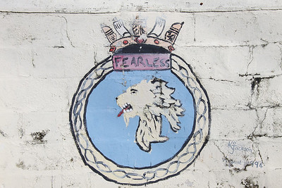 Crest of HMS Fearless at Dockyard, Bermuda. HMS Fearless was a Platform Landing Dock vessel in the Royal Navy, launched in 1962 and decommissioned in 2002.