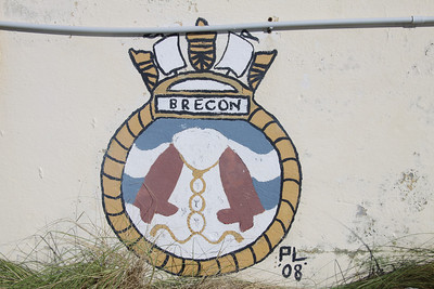 Crest of HMS Brecon at Dockyard, Bermuda. HMS Brecon was a Hunt Class mine countermeasures vessel launched in 1978 and decommissioned in 2005.