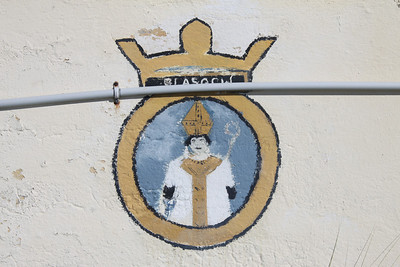 Crest of HMS Glasgow at Dockyard, Bermuda. HMS Glasgow was a type 42 destroyer launched in 1976 and decommissioned in 2005. She served in the Falklands War.