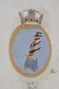 Crest of HMS Avenger at Dockyard, Bermuda. There have been eight Royal Navy ships named HMS Avenger. The eighth (F185) was a type 21 frigate launched in 1975 and decommissioned in 1994. She was deployed to the Falklands War.