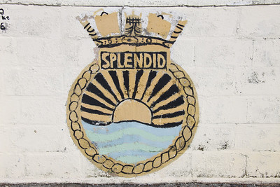 Crest of HMS Splendid at Dockyard, Bermuda. There have been four HMS Splendids. The fourth was a nuclear powered Swiftsure class submarine launched in 1979 and decommissioned in 2004.