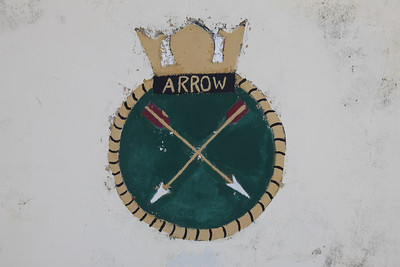 Crest of HMS Arrow at Dockyard, Bermuda. HMS Arrow was a Type 21 Frigate that was launched in 1974 and decommissioned in 1994. She served in the Falklands War.