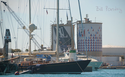 Megayachts alongside the America's Cup Village