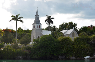 Trinity Church from Harrington Sound, Hamilton Parish, Bermuda
