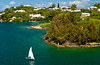 Houses on the islands, inlets and bay of Hamilton, Bermuda, in the British Overseas Territory.
