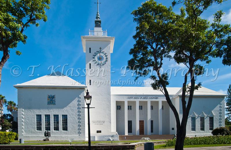 The City Hall and Arts Center in Hamilton, Bermuda in the British Overseas Territory.