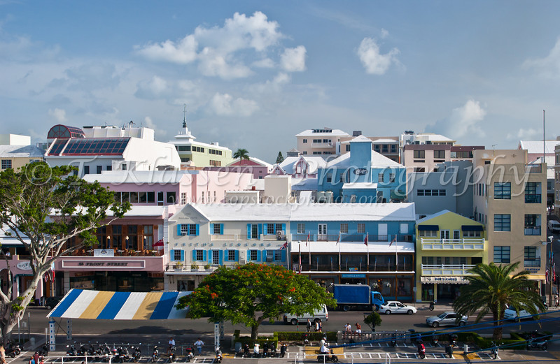 The shops on Front street in Hamilton, Bermuda, British Overseas Territory.